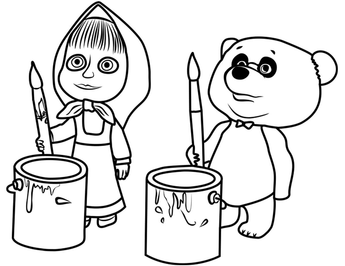 Desenho para colorir de Masha e o Urso