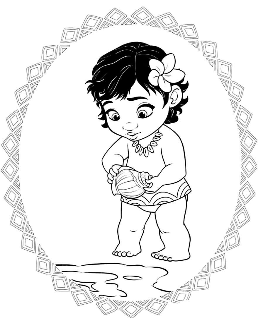 Desenho de Moana para colorir