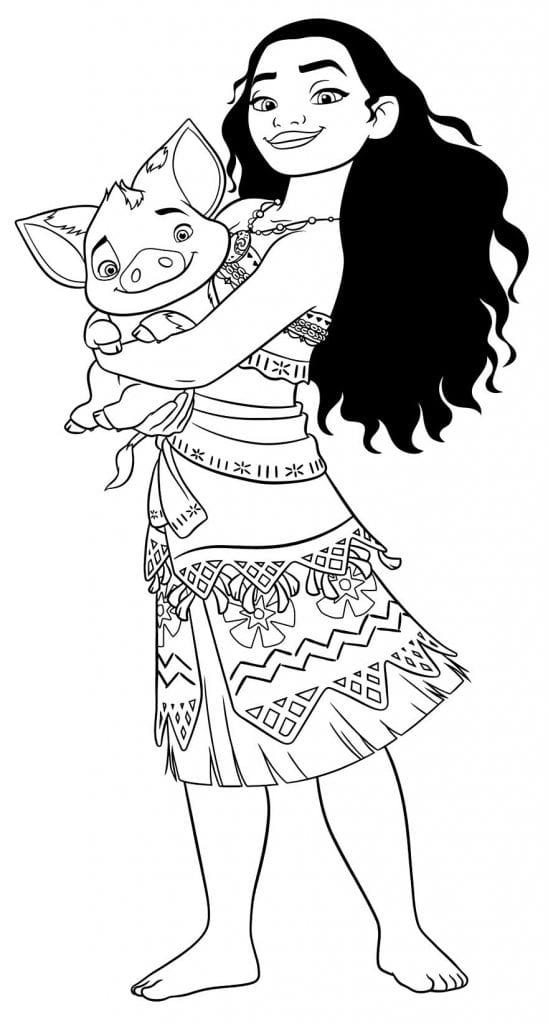 Desenho de Moana para colorir Desenhos para pintar infantil
