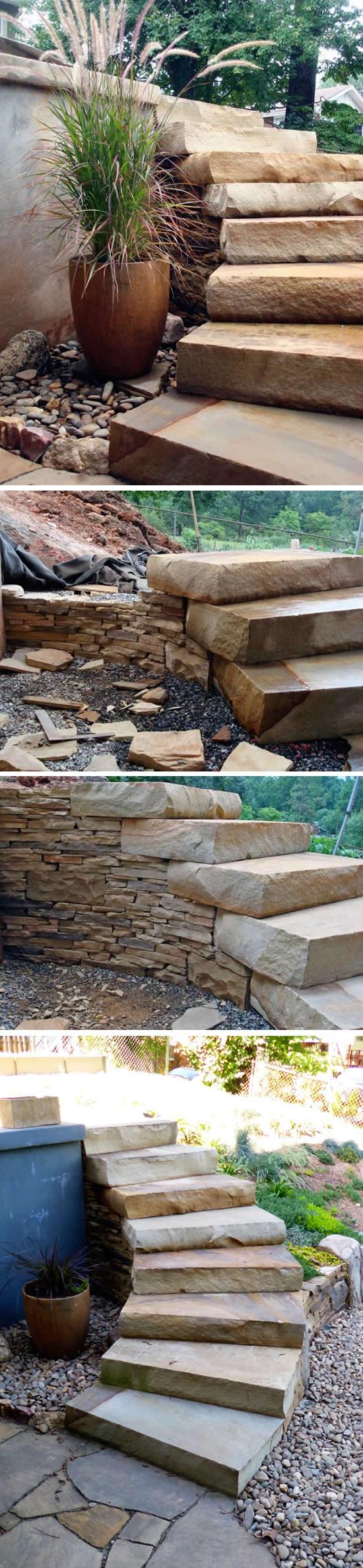 Escada com pedras no jardim passo a passo