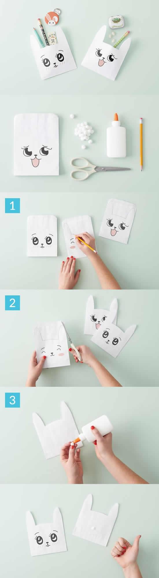 Sacolinhas de coelhinhos de papel