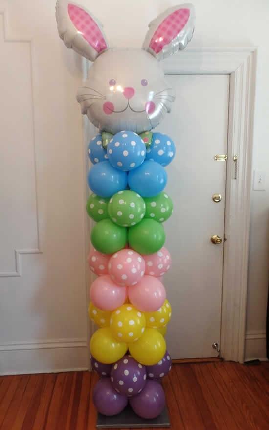 Decoração com bolas de festa para Páscoa