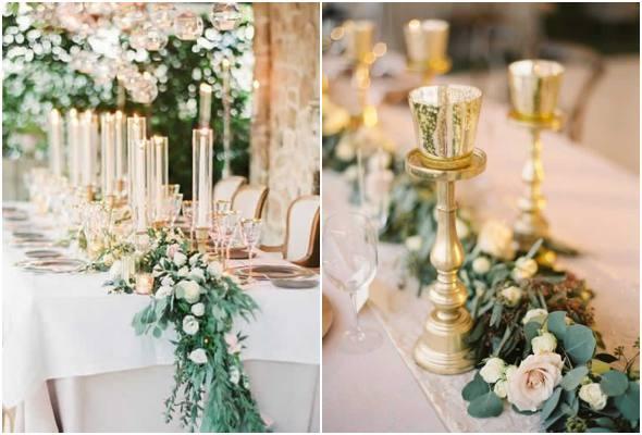 Decoração elegante para mesa de casamento