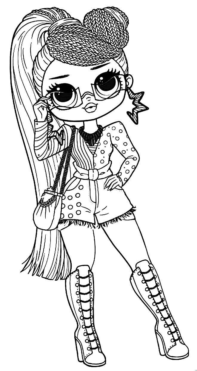 Desenho da para colorir da Boneca LOL adolescente