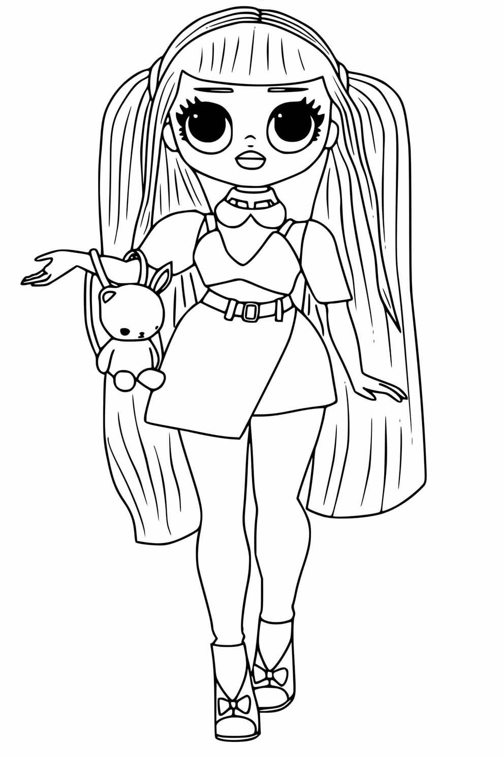 Desenho da Boneca LOL adolescente para pintar