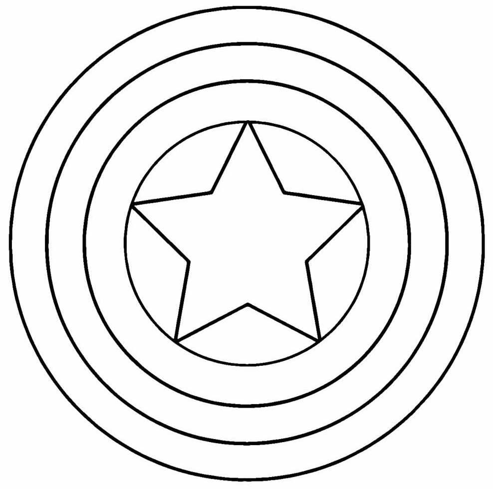 Desenho para colorir do Escudo do Capitão América