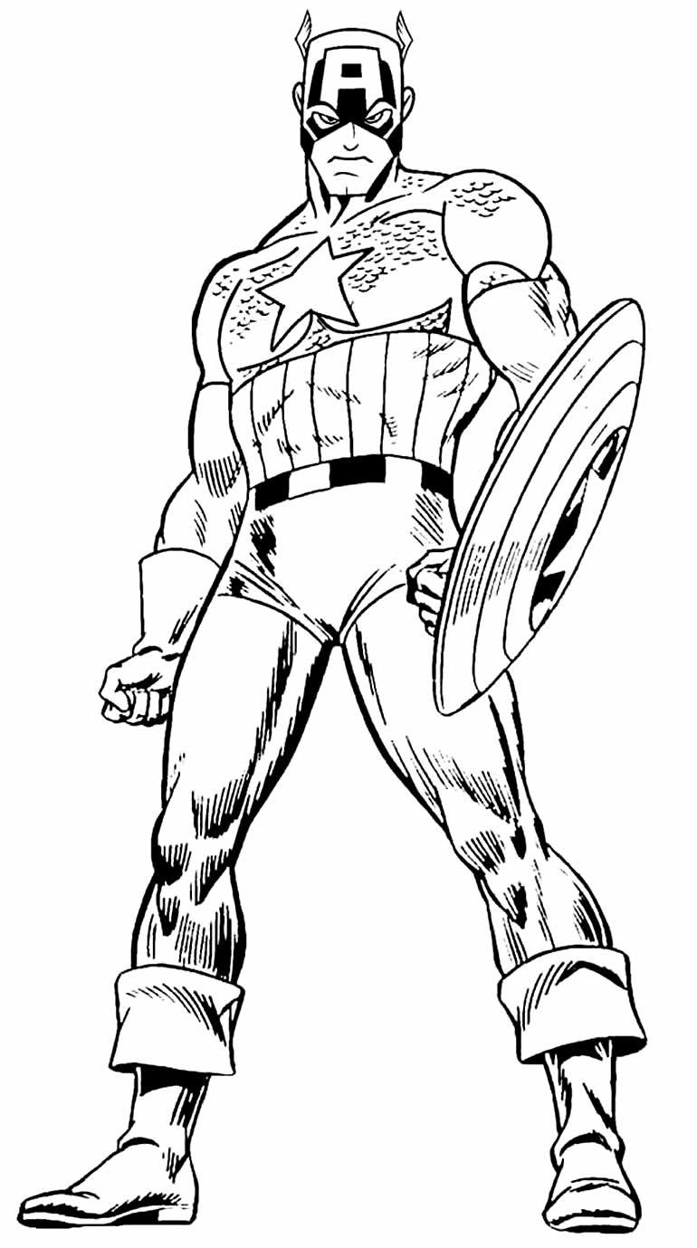 Modelo de Capitão América para colorir