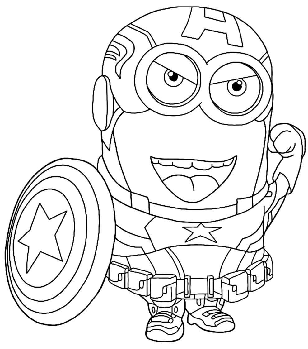 Desenho do Minion de Capitão América