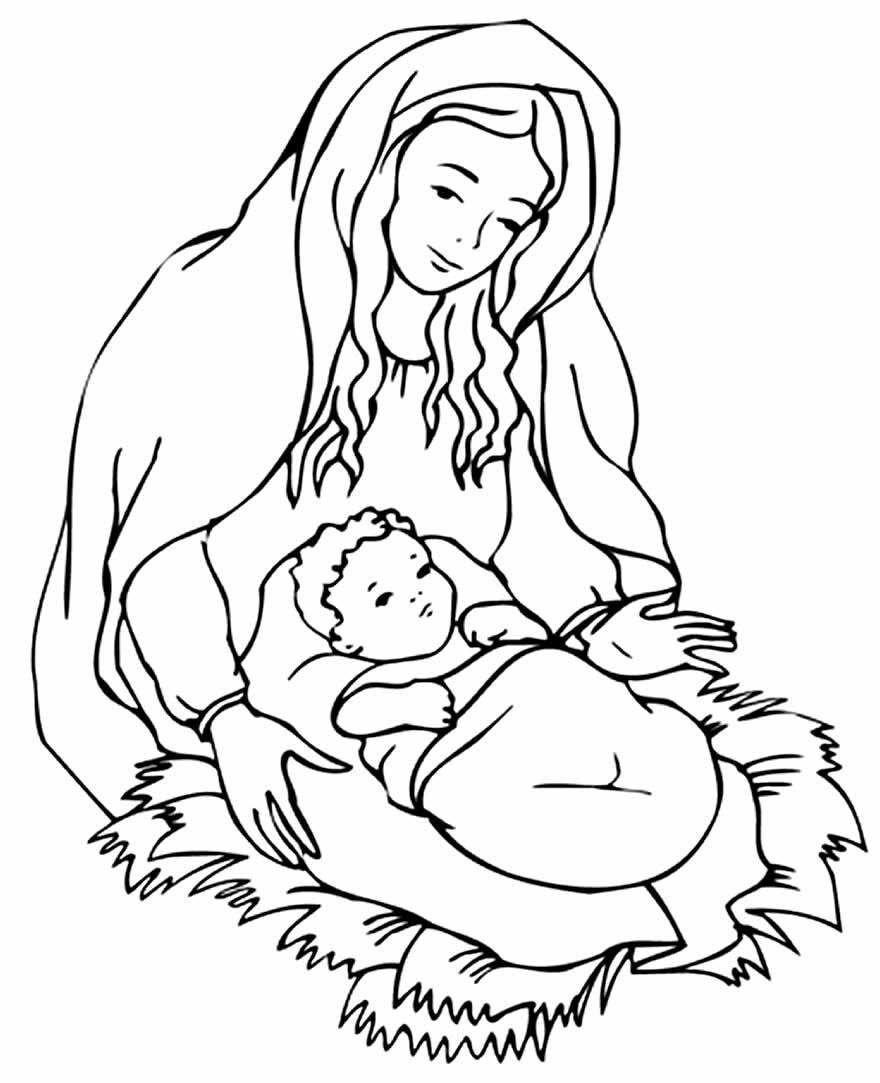 Desenho de Maria e Jesus para imprimir e colorir