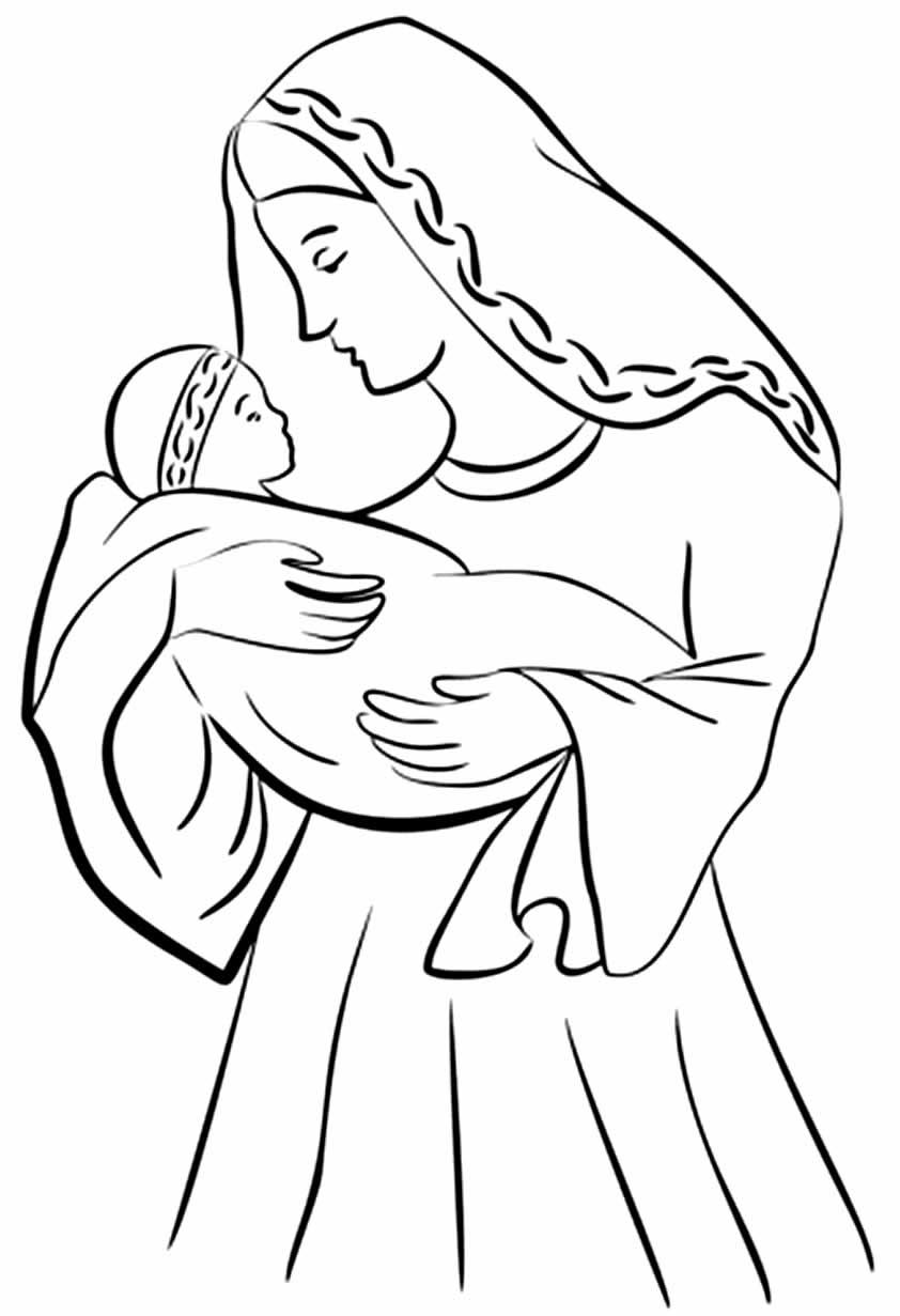 Desenho de Jesus e Maria para imprimir e colorir