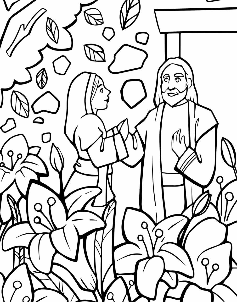 Desenho de José e Maria para colorir