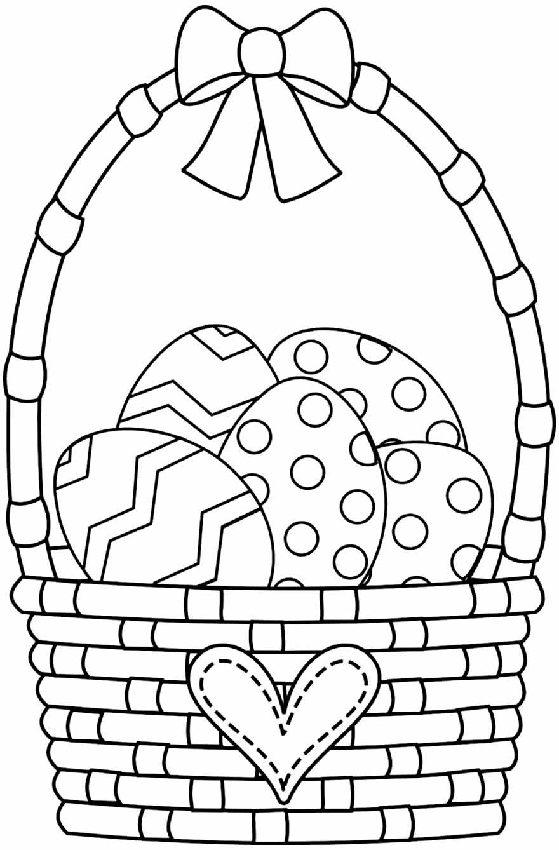 Desenho de cesta de ovos de Páscoa