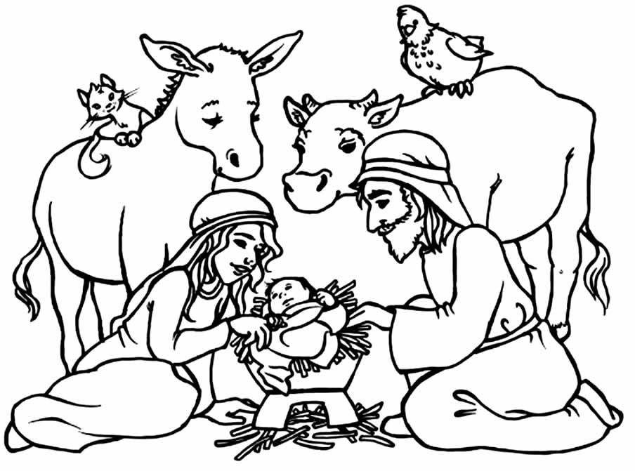 Desenho do Nascimento de Jesus para imprimir e colorir