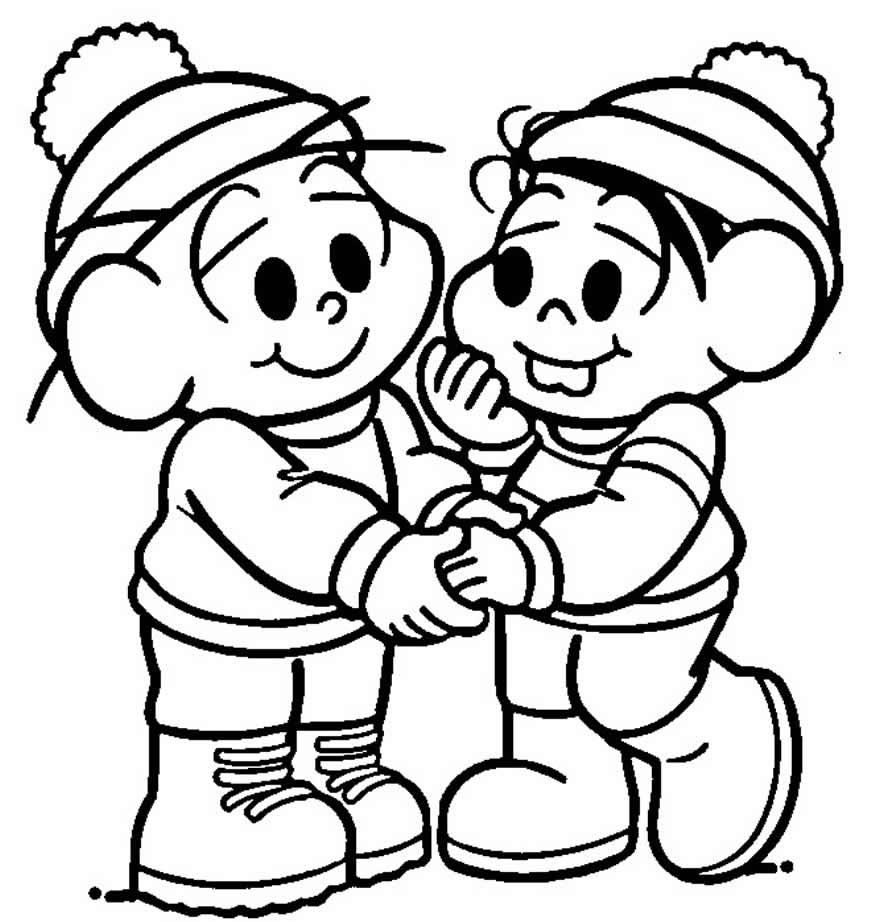 Desenho de Cebolinha e Mônica para colorir
