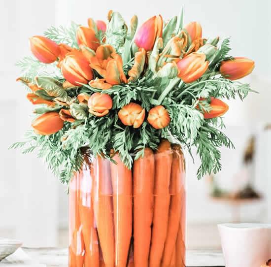 Centro de mesa de cenoura para Páscoa