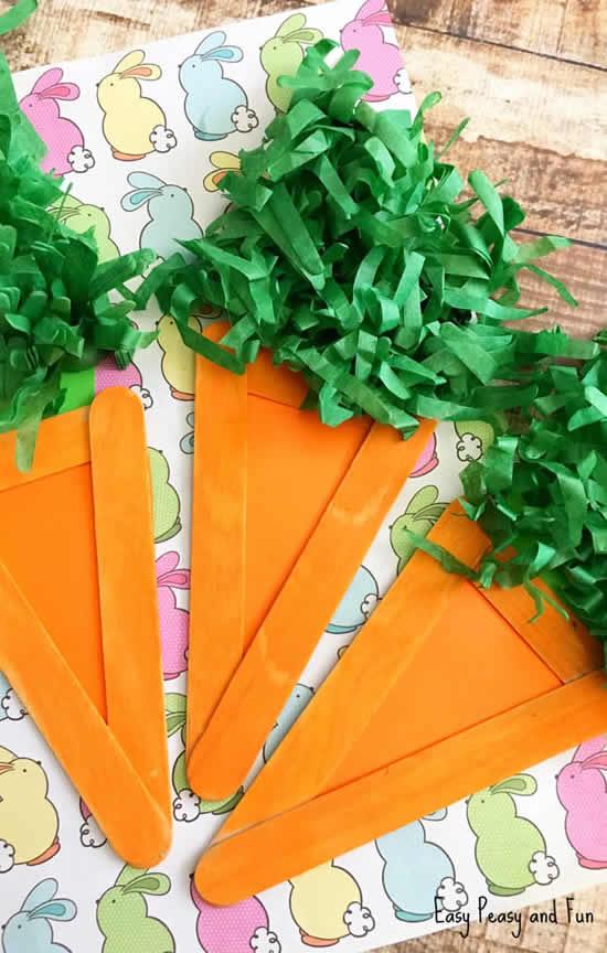 Cenouras com reciclagem para Páscoa