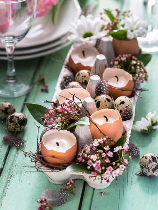 Decoração com cascas de ovos