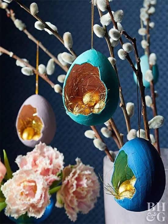 Decoração de Páscoa com cascas de ovos