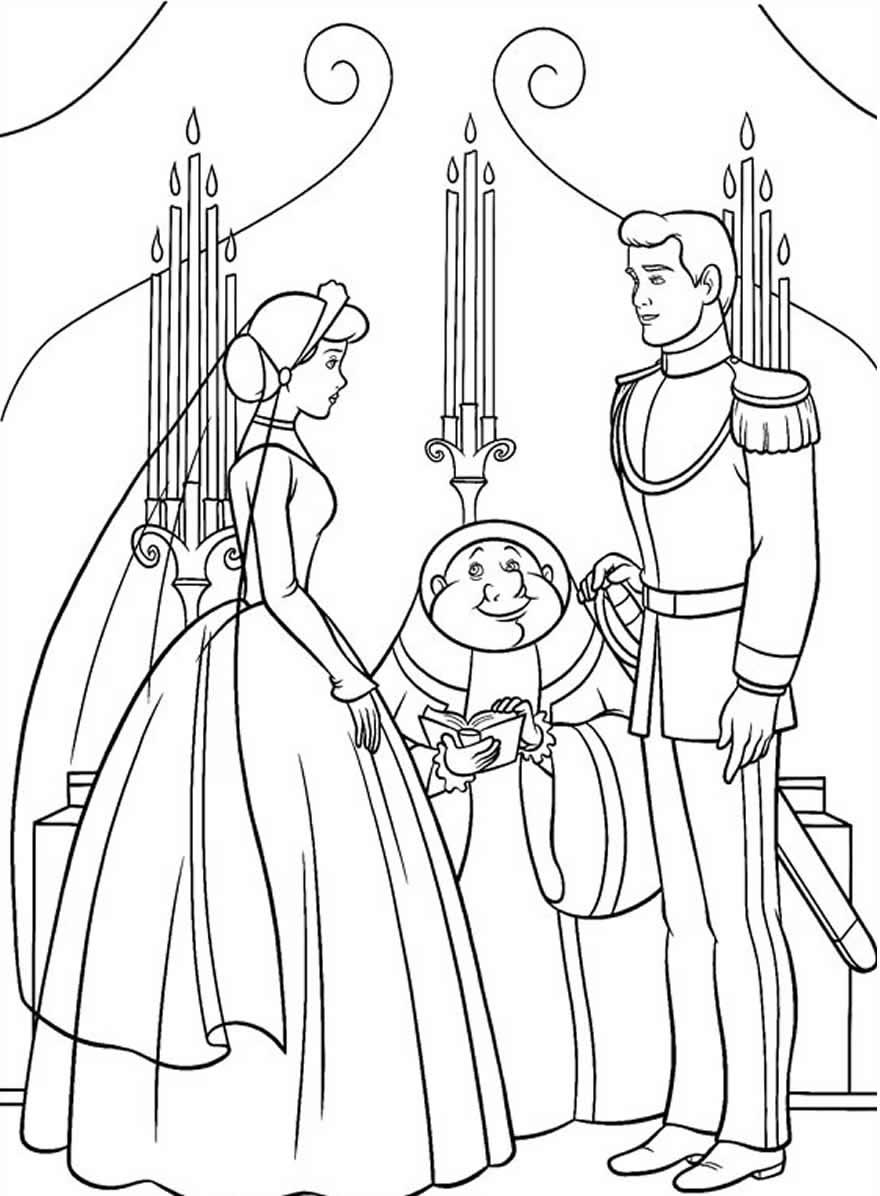 Desenho da Cinderela para pintar e colorir