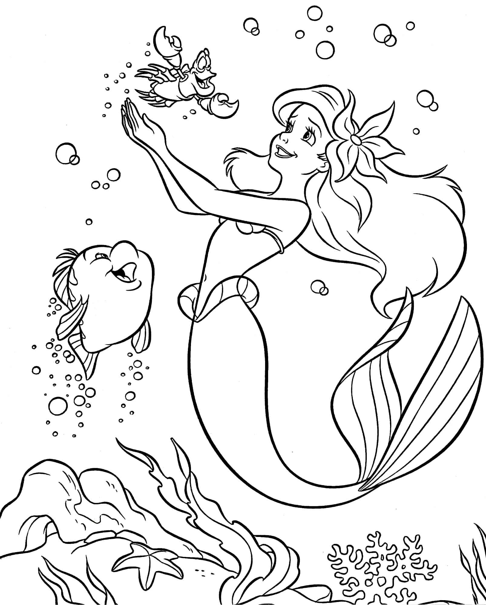 Desenho da Pequena Sereia para colorir
