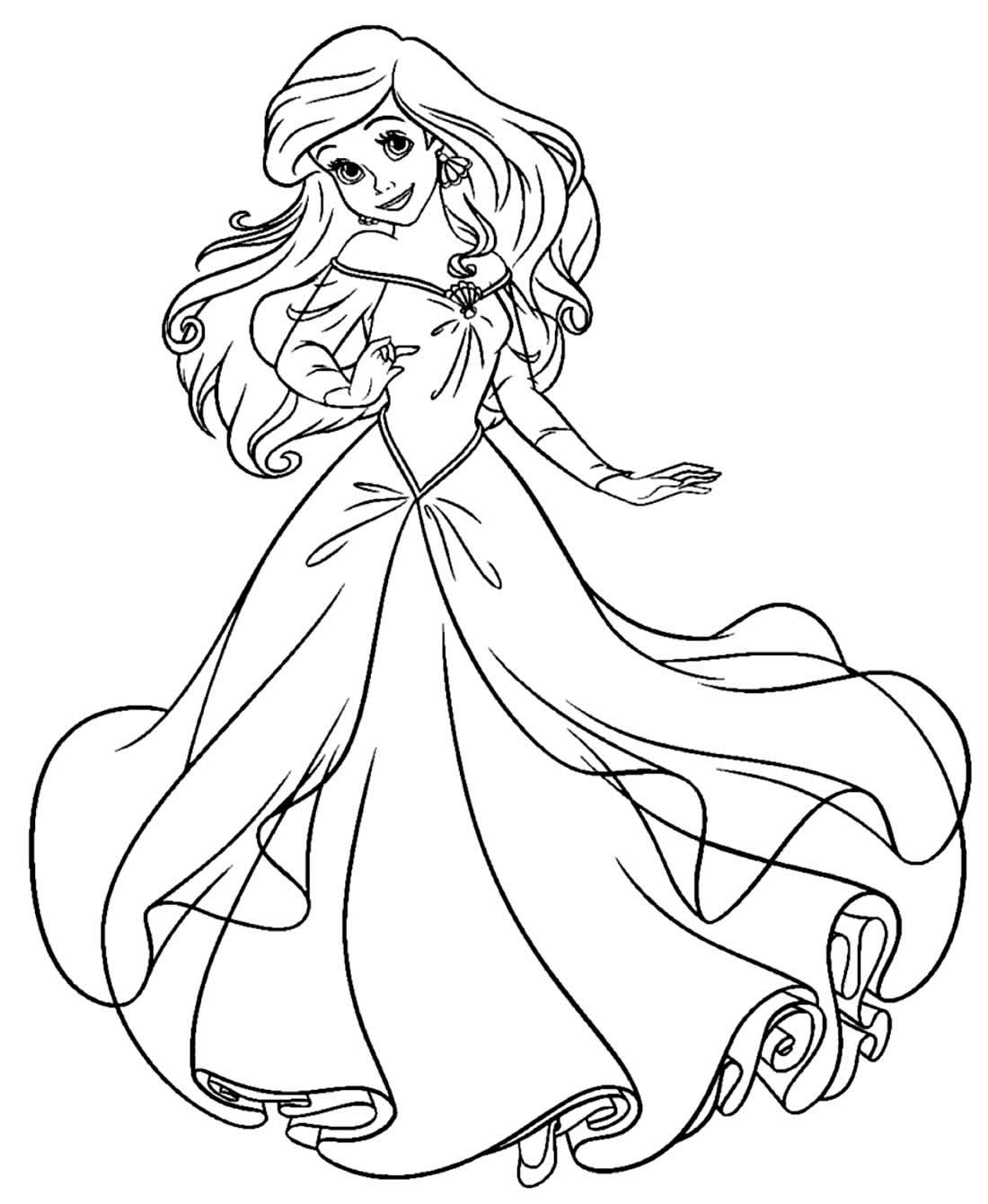 Desenho da Princesa Ariel para colorir