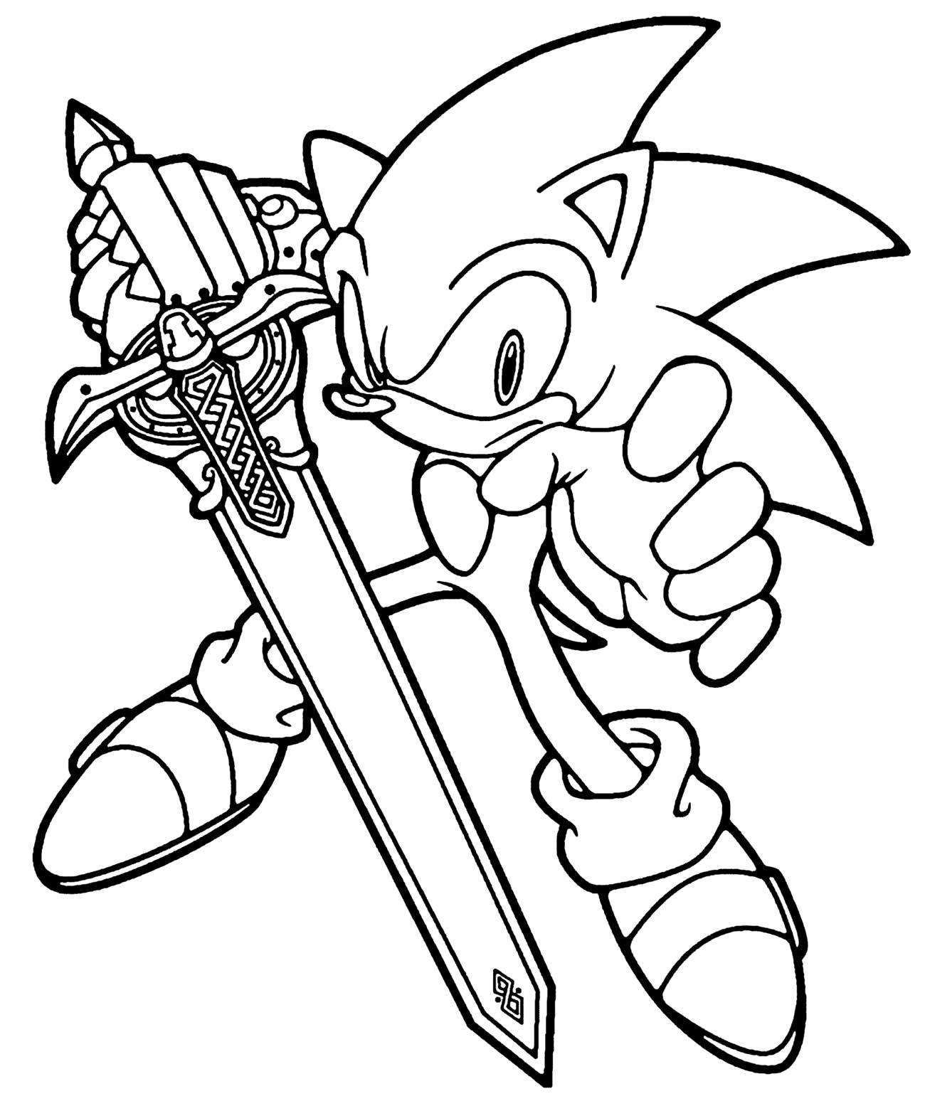 Desenho do Sonic para pintar