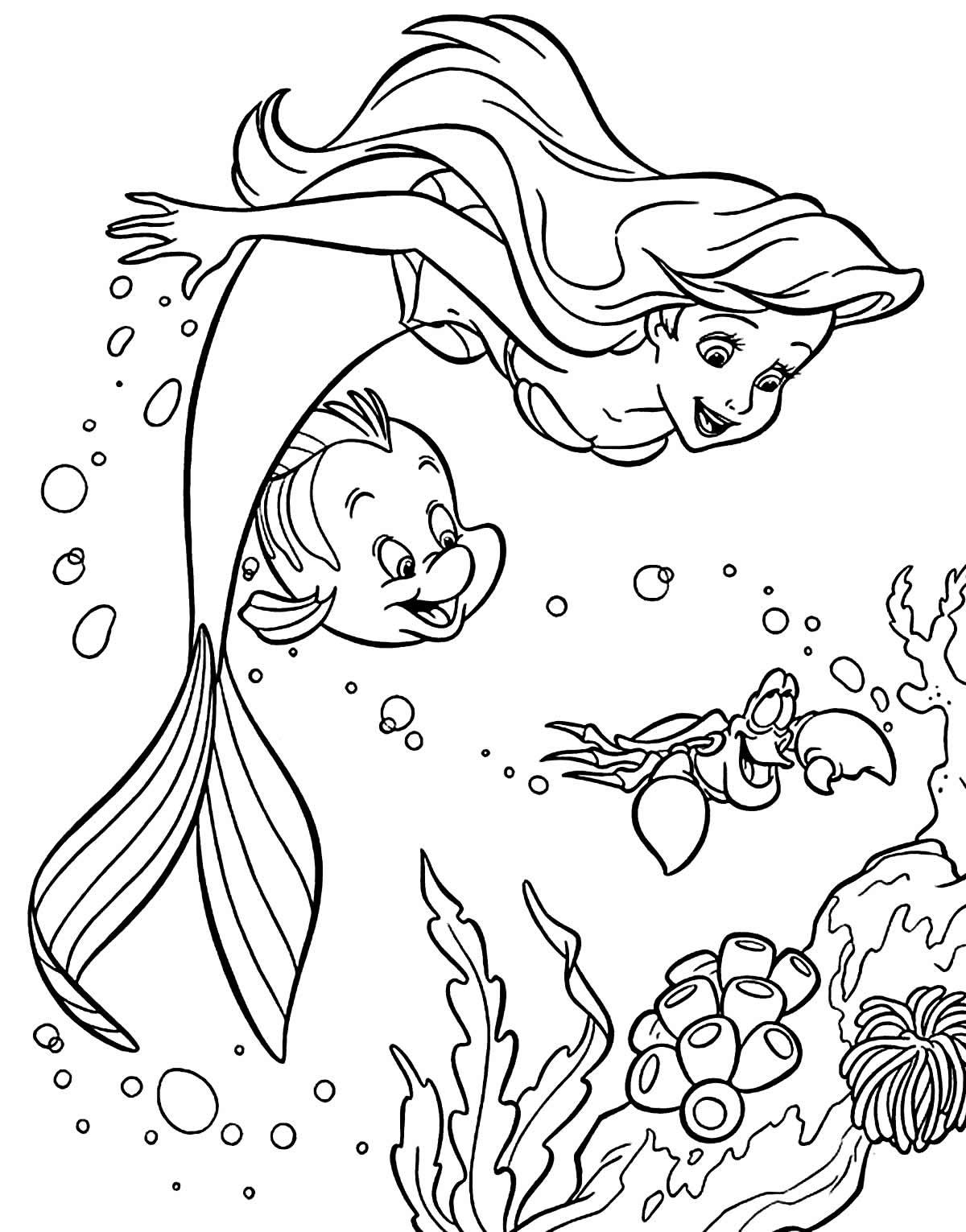 Imagem da Pequena Sereia para colorir