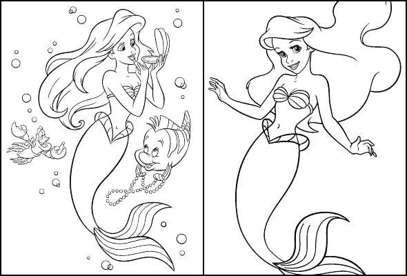 Desenhos da Pequena Sereia para colorir