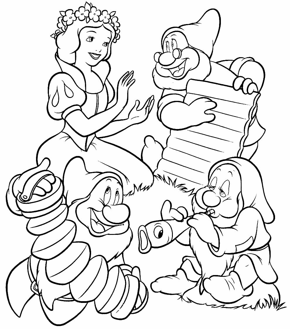 Imagem para pintar da Branca de Neve e os Sete Anões