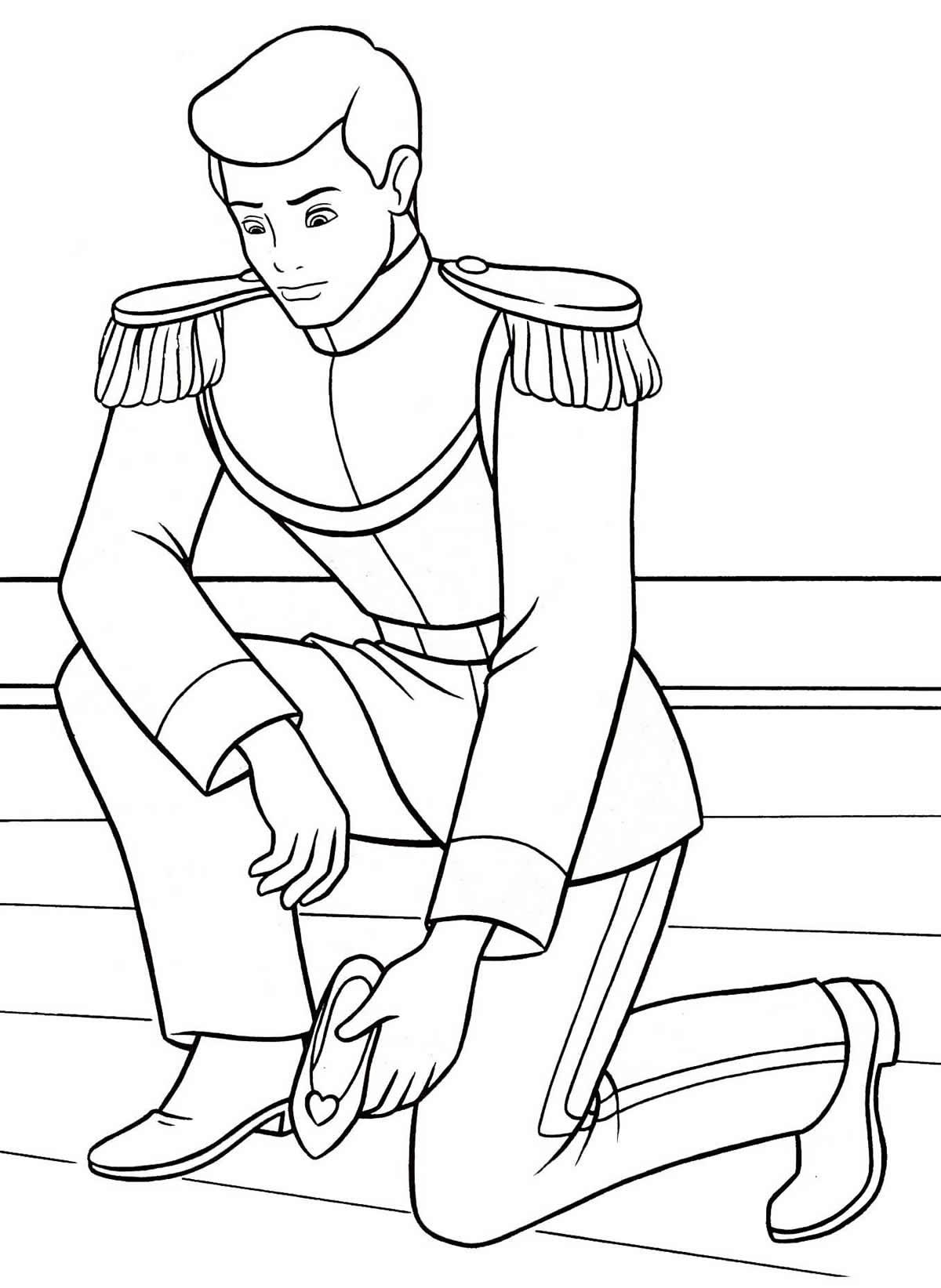 Desenho do príncipe da Cinderela para colorir
