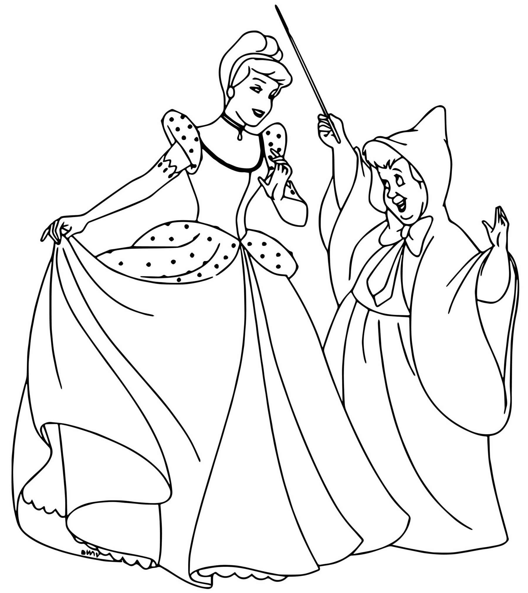 Imagem para colorir da Cinderela