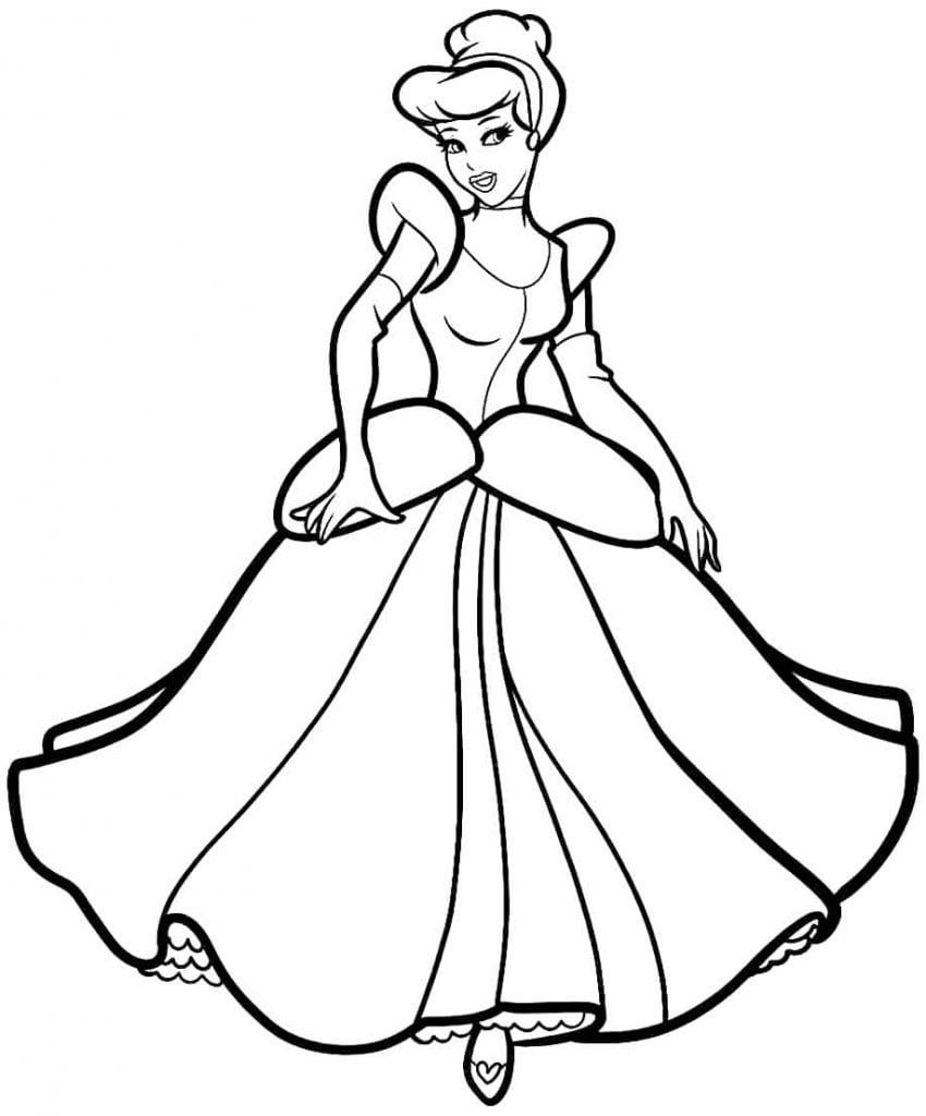 Desenho para pintar da Cinderela