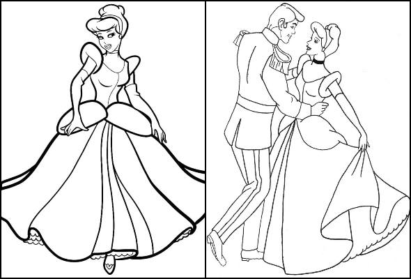 Desenhos da Cinderela para colorir