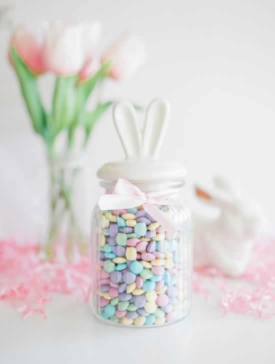 Pote de vidro para lembrancinha de Páscoa