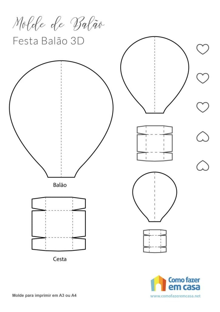 molde de balão Como fazer balão de papel