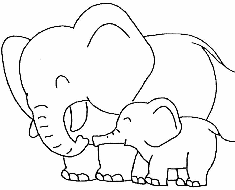 Desenho para colorir de elefantes