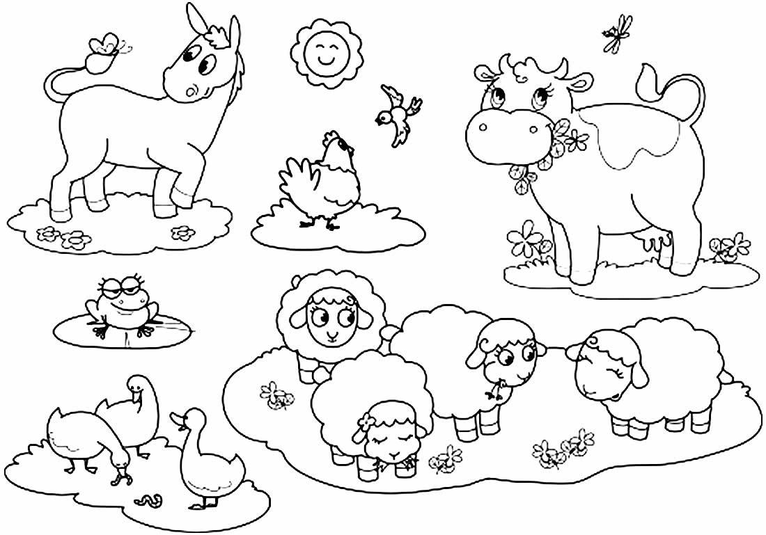 Desenhos para colorir de animais lindos da fazenda