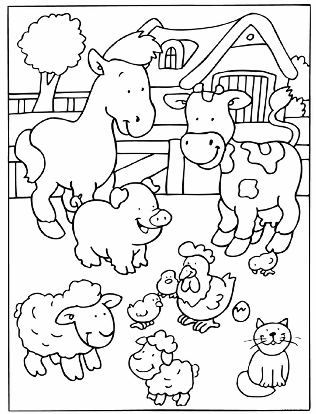 Desenho de animais da fazenda para colorir