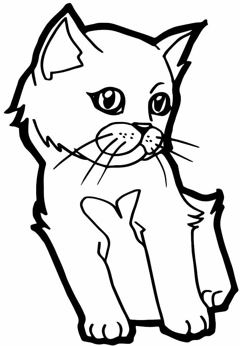 Desenho para pintar de gatinho