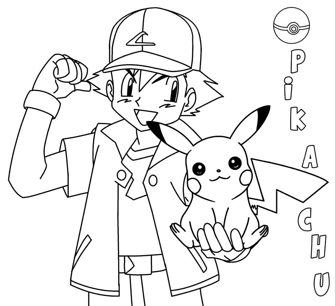 Desenho para colorir de Pikachu e Ash