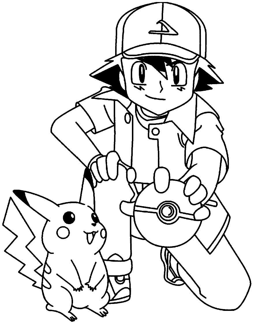 Desenho para colorir de Ash e Pikachu
