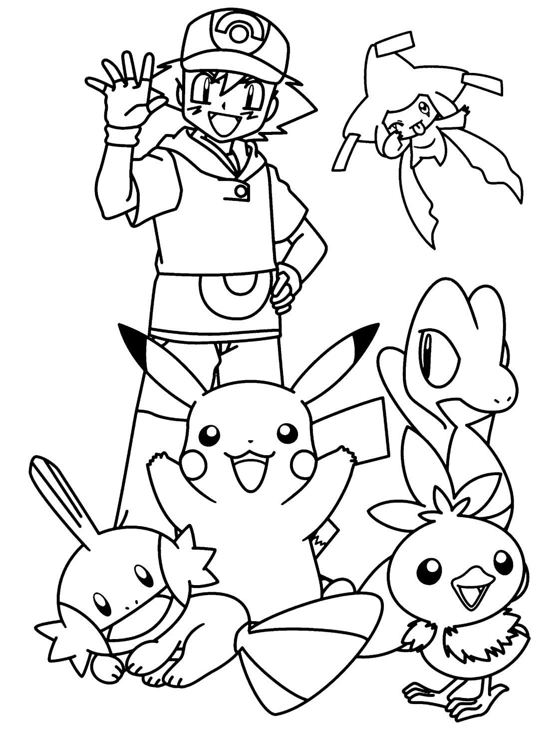 Desenho para pintar de Ash e Pikachu