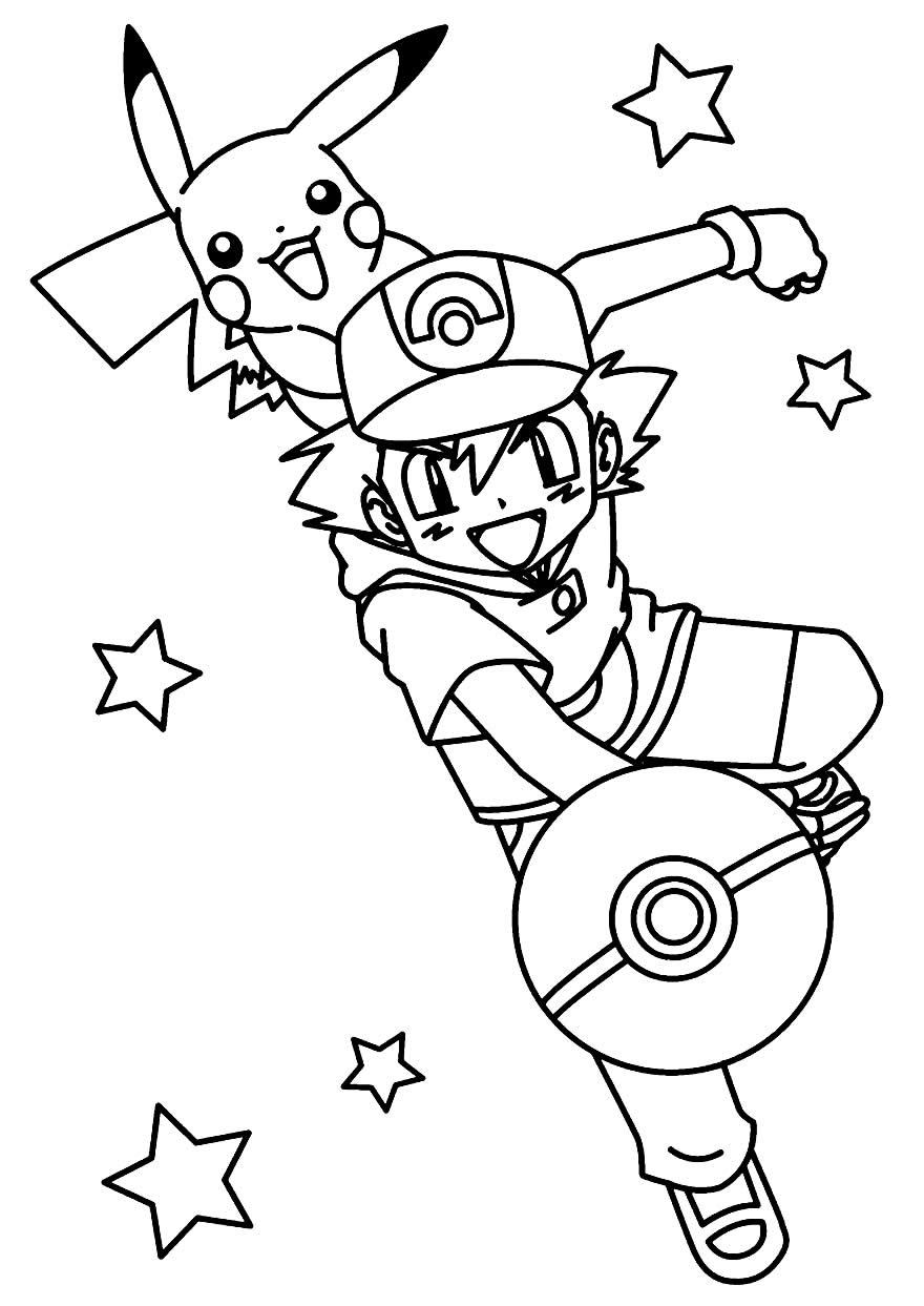 Desenho de Ash e Pikachu para pintar