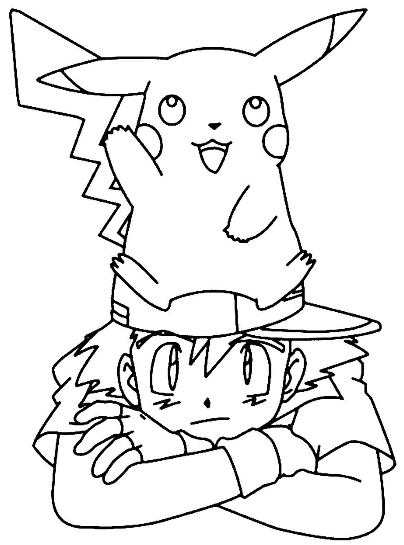 Desenho de Pikachu para pintar
