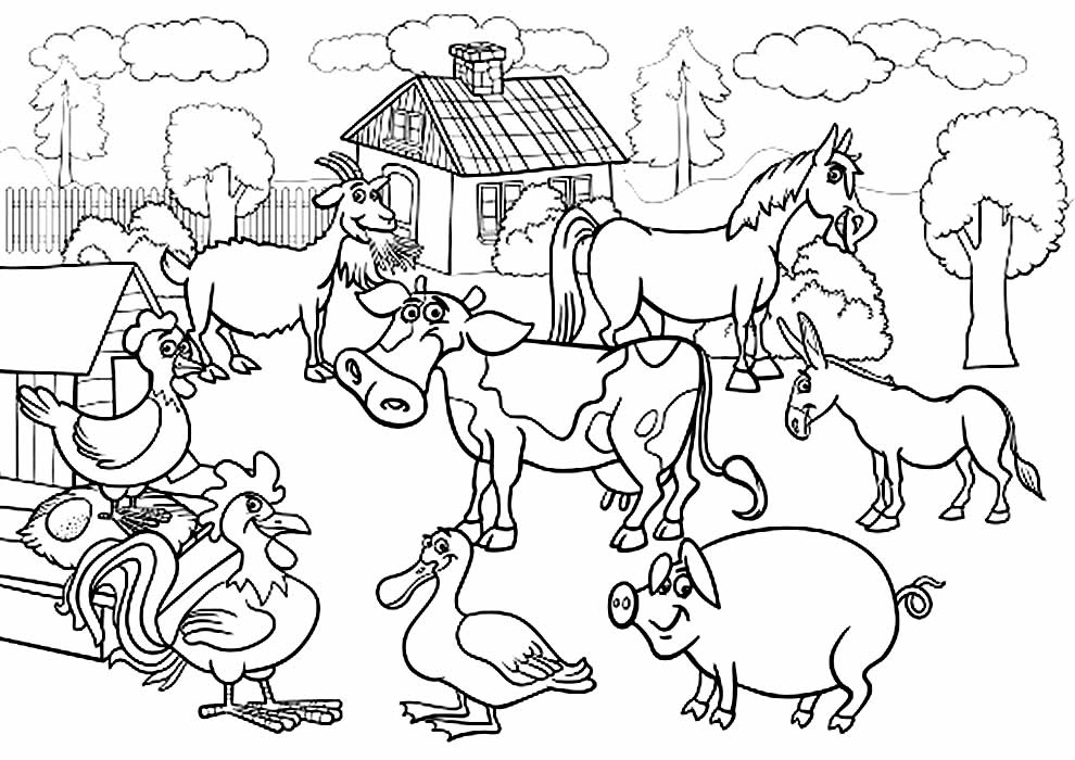 Desenho para colorir de animais da fazenda