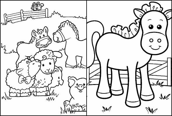 Desenhos de animais da fazenda para colorir