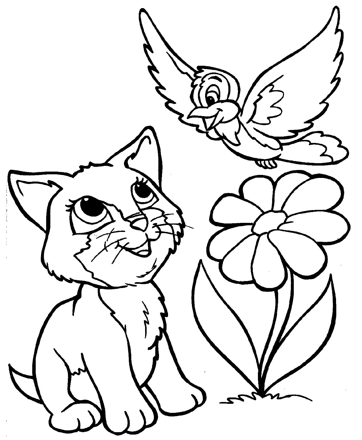 Desenho de gato e passarinho