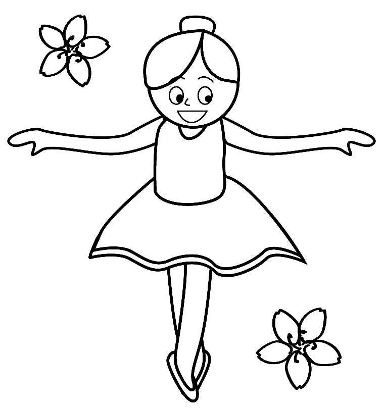Desenho de bailarina para pintar