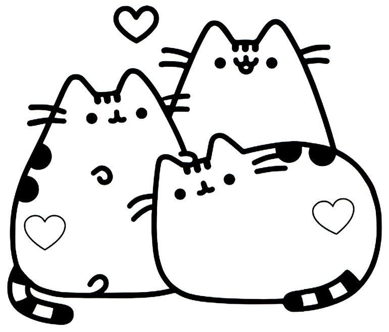 Desenho de gatinhos para pintar e colorir