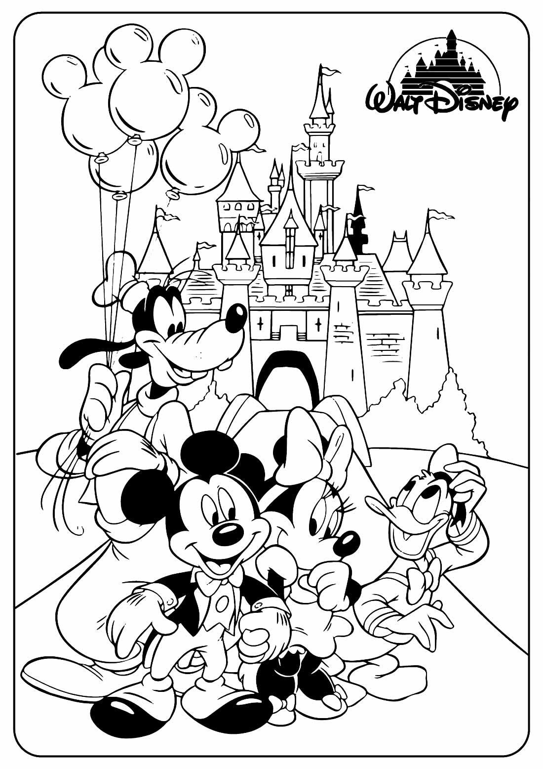 Imagem para colorir do Mickey Mouse